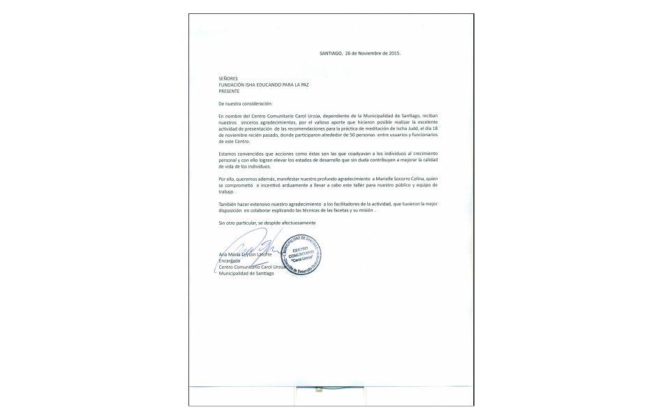 Carta Agradecimiento – Centro Comunitario Carol Urzua
