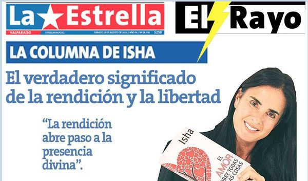 """""""Fluir con la corriente"""" por Isha Judd en la Revista El Rayo de la Estrella de Valparaíso, Chile, 27 de Agosto 2016"""