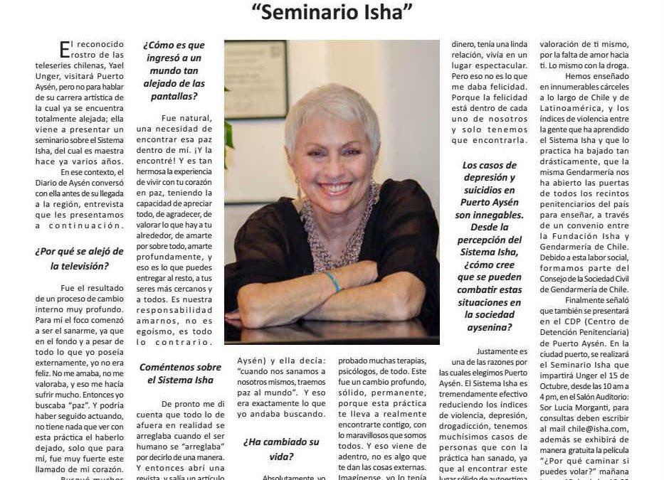 Entrevista a Yael Unger en el Diario Aysén – Seminario del Sistema Isha en Puerto Aysén, Chile