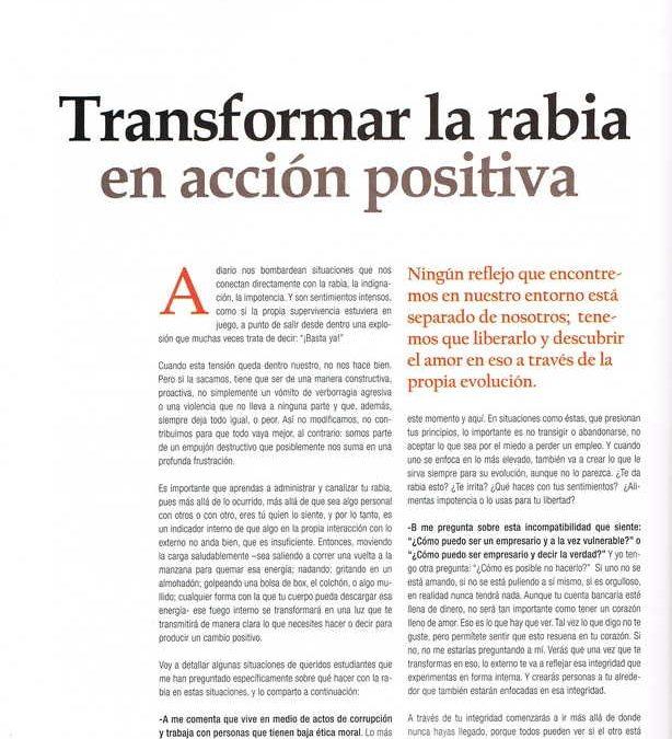 Transformar la rabia en acción positiva